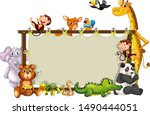 border template with cute... | Shutterstock .eps vector #1490444051