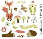autumn forest  woodland animals ... | Shutterstock .eps vector #149047127