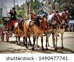 Andalusian horses and carriage in Feria del Caballo, Jerez de la Frontera (Cadiz, Spain)
