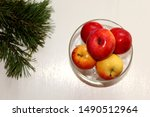 Small Red Yellow Apples In A...