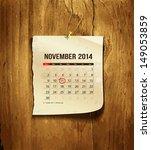 calendar november 2014  vintage ... | Shutterstock .eps vector #149053859