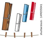 clothespin (clothespin and rope, clothes pegs)