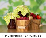 jam in banks a bucket of... | Shutterstock . vector #149055761