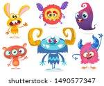 cute cartoon monsters. set of... | Shutterstock .eps vector #1490577347