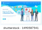 how to write business plan  man ... | Shutterstock .eps vector #1490587541