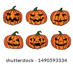halloween pumpkin set. hand...   Shutterstock .eps vector #1490593334
