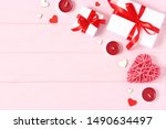 gifts and hearts on a colored... | Shutterstock . vector #1490634497