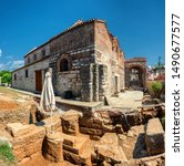 Small photo of ARTA/ GREECE JULY 25, 2019: Excavation at The Byzantine church of St Theodora of Arta in Arta, Greece