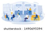 Stock vector business lunch vector illustration cartoon people in cafe canteen office worker colleague sit 1490695394