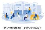 business lunch vector... | Shutterstock .eps vector #1490695394