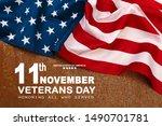 happy veterans day with... | Shutterstock . vector #1490701781