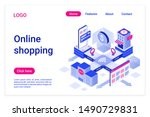 online shopping isometric...