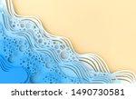abstract paper art sea or ocean ... | Shutterstock . vector #1490730581