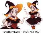 pretty young vampire witch.... | Shutterstock .eps vector #1490761457