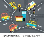 funny vehicles cartoon on the... | Shutterstock .eps vector #1490763794