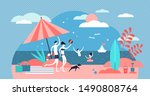 family at beach vector... | Shutterstock .eps vector #1490808764
