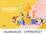 office workers celebrating with ... | Shutterstock .eps vector #1490819327