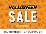 halloween 50 percent sale ... | Shutterstock .eps vector #1490849714