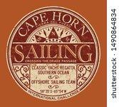 cape horn sailing regatta... | Shutterstock .eps vector #1490864834