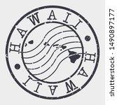 hawaii stamp postal. map... | Shutterstock .eps vector #1490897177