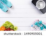 healthy lifestyle  food and... | Shutterstock . vector #1490905001