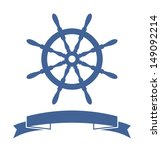 Ship Wheel Banner Isolated On...