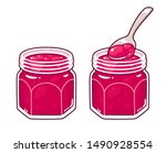 raspberry jam in glass jar with ... | Shutterstock .eps vector #1490928554
