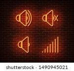 neon mute signs vector isolated ... | Shutterstock .eps vector #1490945021