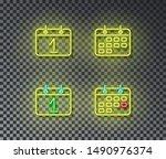 neon calendar signs vector... | Shutterstock .eps vector #1490976374