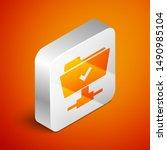isometric ftp operation... | Shutterstock . vector #1490985104