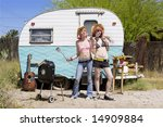two young punk women in front... | Shutterstock . vector #14909884