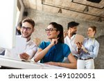 group of business people and... | Shutterstock . vector #1491020051
