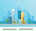 social networking city concept... | Shutterstock .eps vector #1491055367