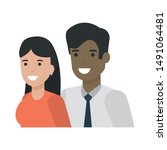 couple of woman and man cartoon ... | Shutterstock .eps vector #1491064481