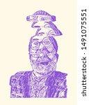 glitch grandfather in round...   Shutterstock .eps vector #1491075551