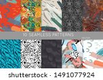 collection of seamless patterns.... | Shutterstock .eps vector #1491077924