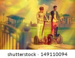 two guys go on segway   Shutterstock . vector #149110094
