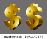 Gold Dollar Sign Isolated On...
