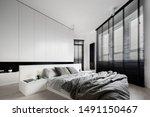 bedroom designed in black and... | Shutterstock . vector #1491150467