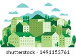 green city landscape with... | Shutterstock .eps vector #1491153761