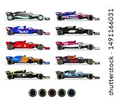formula 1 racing cars set with...