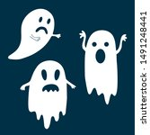 sad and frightening ghosts for...   Shutterstock .eps vector #1491248441