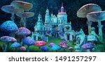 fantastic wonderland landscape... | Shutterstock . vector #1491257297
