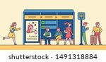 people waiting for a bus at the ... | Shutterstock .eps vector #1491318884