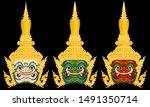 thai ramayana giant mask... | Shutterstock .eps vector #1491350714