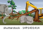 deforestation scene with... | Shutterstock .eps vector #1491401414
