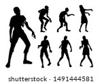 zombie standing and walking... | Shutterstock .eps vector #1491444581