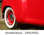 White Wall Tire On Antique Red...