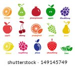 vector collection  fruit icons | Shutterstock .eps vector #149145749