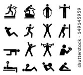 active,activity,bench press,bicycle,black,bodybuilder,dumbbell,exercise,fitness,graphic,gym,health,healthy,icon,icon set